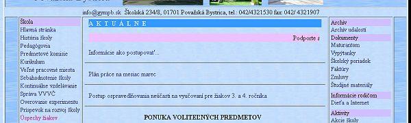 Gymnázium Školská Považská Bystrica